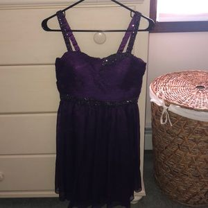 Purple Dress with Sequin Detail on Straps & Bust!